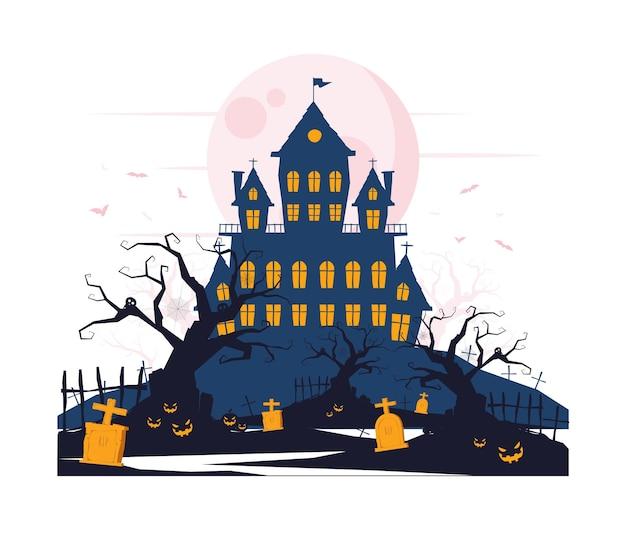 Gruseliges schloss mit geisterblumen und gräbern auf halloween-konzeptillustration