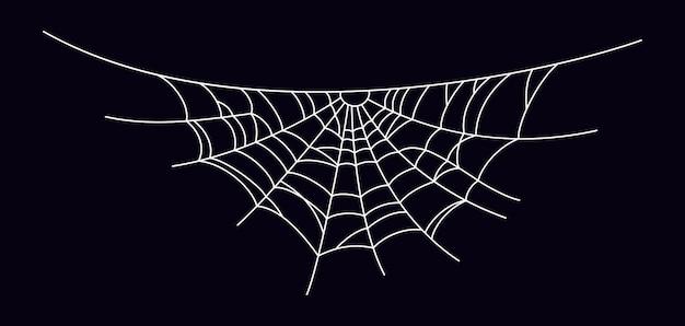 Gruseliges spinnennetz. weißes spinnennetzschattenbild lokalisiert auf schwarzem hintergrund. handgezeichnetes spinnennetz für halloween-party. vektor-illustration