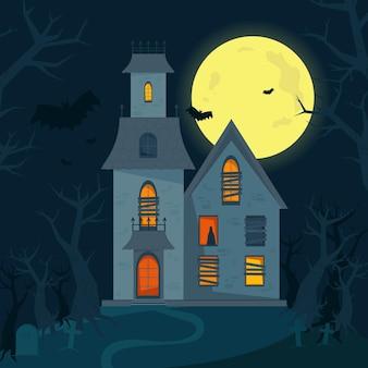 Gruseliges spukhaus, halloween-horrorhaus. vektorillustration im flachen stil.