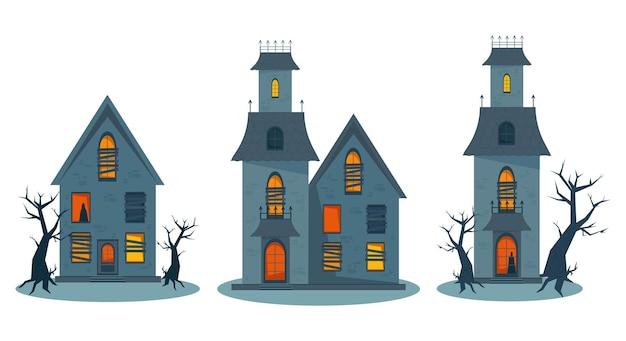 Gruseliges spukhaus und zerbrochene fenster halloween-horror-haus-set vektor-illustration in flach