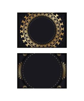 Gruß-broschüren-vorlage in schwarzer farbe mit goldenem luxus-ornament