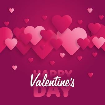 Gruß-karte glücklicher valentinstag. schriftzug mit herzen im hintergrund