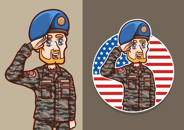 Gruß us-soldat unabhängigkeitstag mann feiern nationalfeiertag