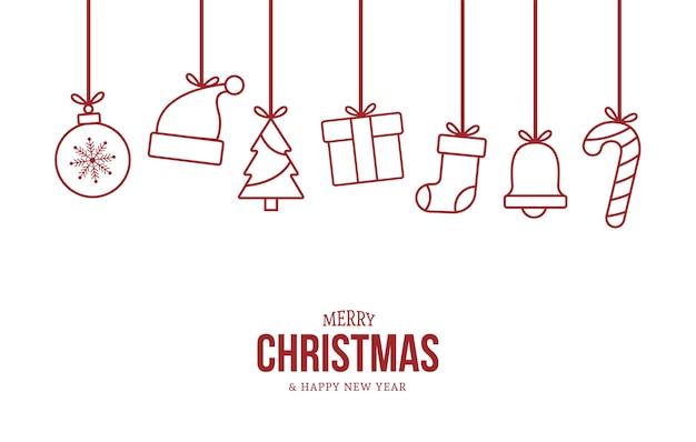 Gruß-weihnachtskarte mit flachen weihnachtsobjekten