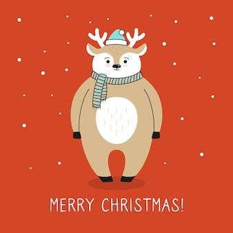 Gruß-weihnachtskarten-karikaturhirsch. rentier in weihnachtsmannmütze, schnee hand gezeichnete lustige karikaturweihnachtsfigur