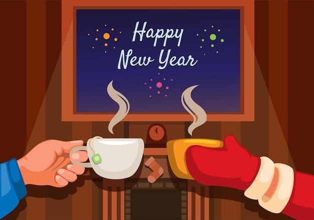 Grußfeier der frohen weihnachten mit der hand, die kaffee- und teekarikaturillustrationsvektor hält