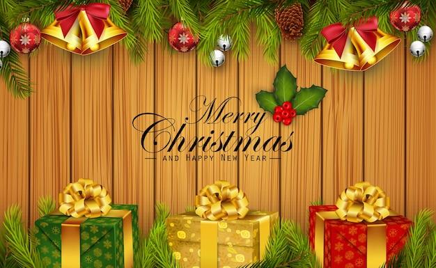 Grußhintergrund der frohen weihnachten und des guten rutsch ins neue jahr