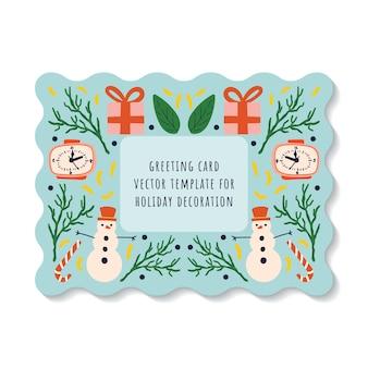 Grußkarte auf einem blauen hintergrund mit elementen des schneemanns, der uhr, des geschenks und des lutschers der neujahrsfeiertage.