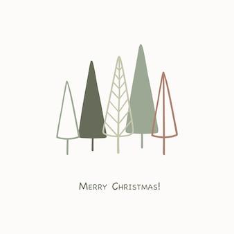 Grußkarte der frohen weihnachten mit abstrakten handgezeichneten weihnachtsbäumen