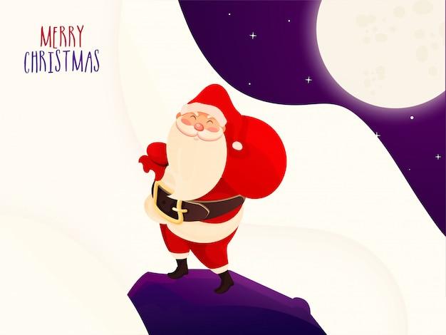 Grußkarte der frohen weihnachten mit der illustration von weihnachtsmann eine schwere tasche auf vollmondlichtzusammenfassung anhebend.