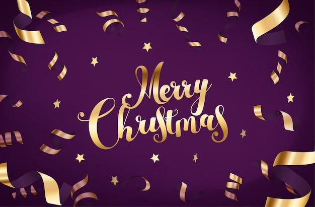 Grußkarte der frohen weihnachten mit goldfallendem confetti