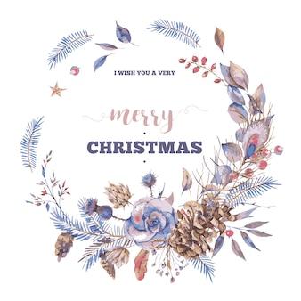 Grußkarte der frohen weihnachten mit natürlichem weinlesekranz mit rosen