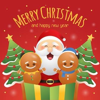 Grußkarte der frohen weihnachten mit netten plätzchen und sankt