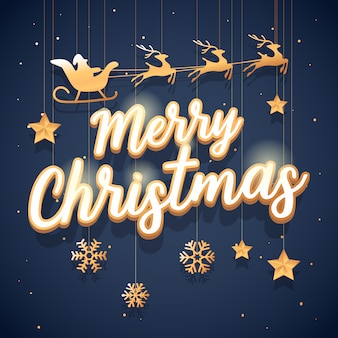 Grußkarte der frohen weihnachten mit santa claus des goldes mit einem renfliegen.