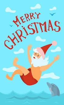 Grußkarte der frohen weihnachten, santa claus diving hat