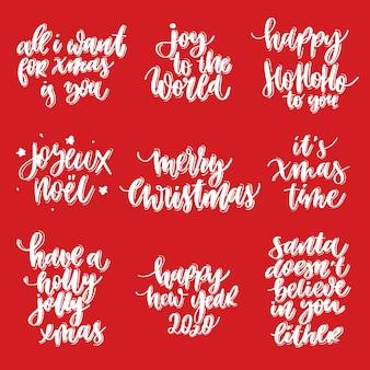 Grußkarte der frohen weihnachten und des guten rutsch ins neue jahr eingestellt mit kalligraphie. handgezeichnete moderne schrift.