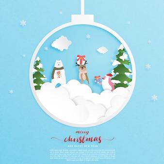 Grußkarte der frohen weihnachten und des guten rutsch ins neue jahr im papierschnittstil.