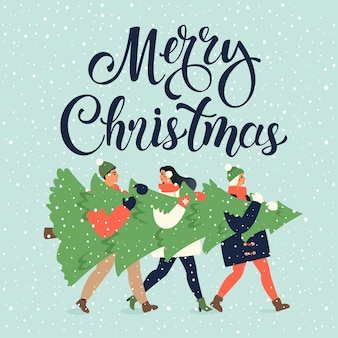 Grußkarte der frohen weihnachten und des guten rutsch ins neue jahr. leutegruppe, die zusammen große weihnachtskiefer für ferienzeit mit verzierungsdekoration, geschenke trägt.