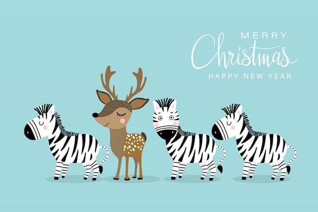 Grußkarte der frohen weihnachten und des guten rutsch ins neue jahr mit niedlichen rotwild und zebra.