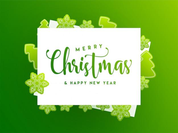 Grußkarte der frohen weihnachten und des guten rutsch ins neue jahr verziert mit aufkleberartschneeflocke und weihnachtsbaum auf grün.