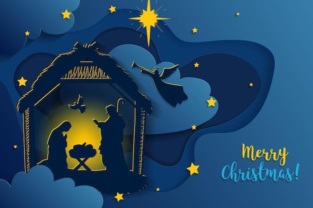 Grußkarte der traditionellen christlichen weihnachtskrippe des babys jesus in der krippe mit maria und joseph in der silhouette. heilige nacht. vektor-eps 10
