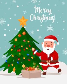 Grußkarte. der weihnachtsmann schmückt den weihnachtsbaum.