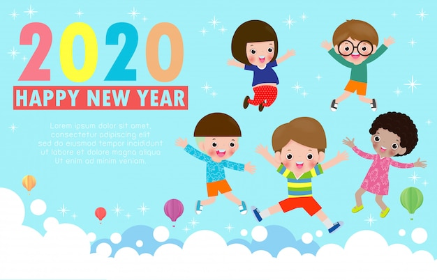 Grußkarte des guten rutsch ins neue jahr 2020 mit dem gruppenkinderspringen