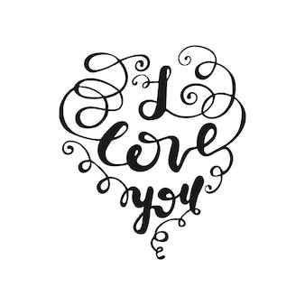 Grußkarte design mit schriftzug ich liebe dich. vektor-illustration.