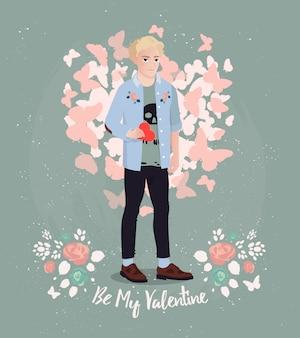 Grußkarte design. valentinsgrußvektordruck mit hippie-jungen hält er ein liebesgeständnis.