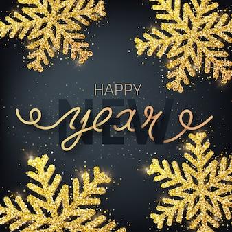 Grußkarte, einladung mit frohem neuen jahr. handgeschriebene beschriftung auf einem schwarzen hintergrund. glitzer bedeckte goldene schneeflocke.