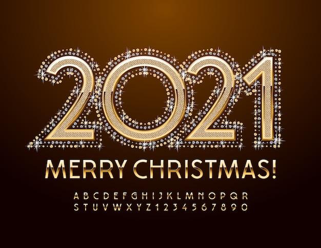 Grußkarte frohe weihnachten 2021. gold elegante schrift. luxus alphabet buchstaben und zahlen