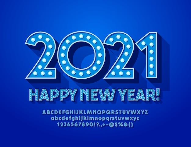 Grußkarte frohes neues jahr 2021! blaue lampe schrift glühbirne alphabet buchstaben und zahlen