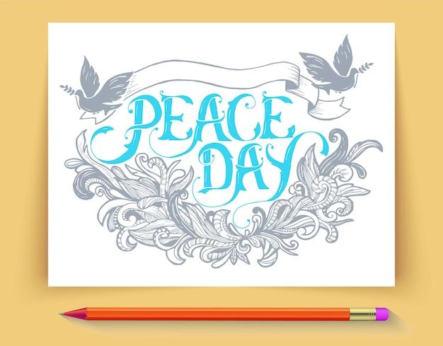 Grußkarte für den feiertag friedenstag. kalligraphie mit abstrakter dekorverzierung.