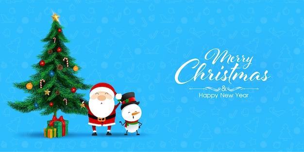 Grußkarte für frohe weihnachten auf blauem hintergrund.