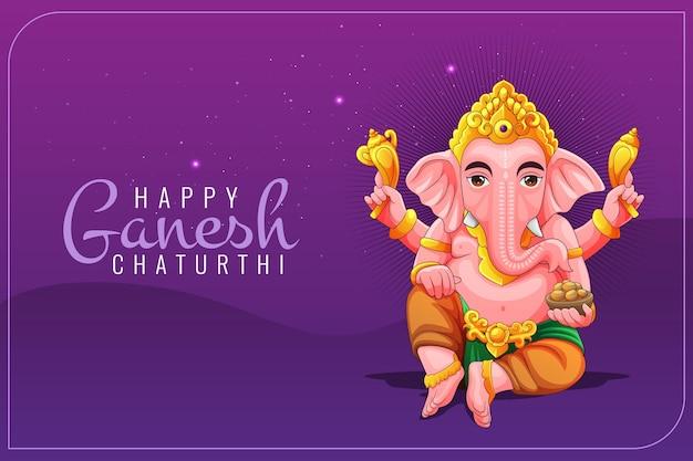 Grußkarte für ganesh cathurthi mit lord ganesha illustration Premium Vektoren