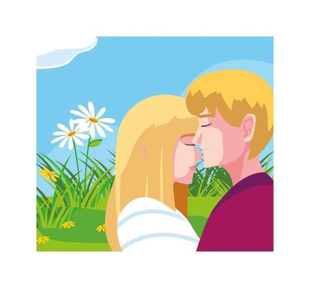 Grußkarte für valentinstag, paar in der liebe