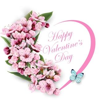 Grußkarte happy valentinstag mit einem herz aus blumen rosa kirschblüten vorlage
