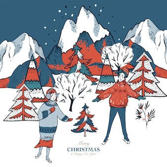 Grußkarte im skandinavischen stil des winters rote häuser mit schnee bedeckt, menschen rodeln, eislaufen auf einer eisbahn