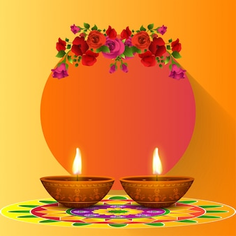 Grußkarte layout für happy diwali festival.