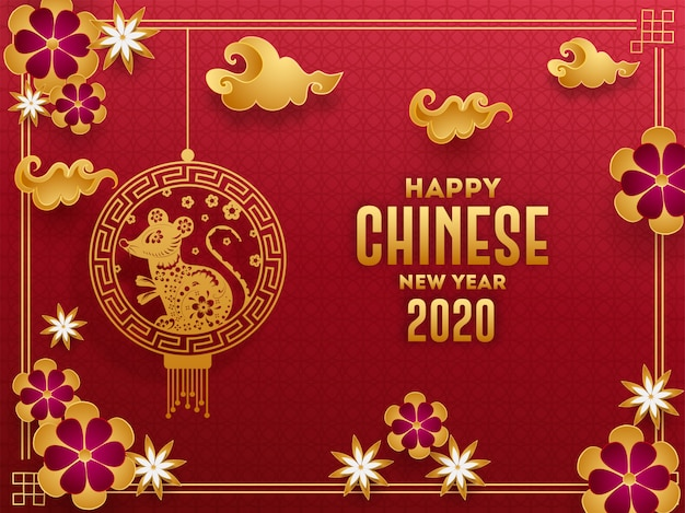 Grußkarte mit 2020 feiern mit hängendem rattensternzeichen, papierschnittblumen und wolken verziert auf nahtlosem muster des roten geometrischen kreises für guten rutsch ins neue jahr.