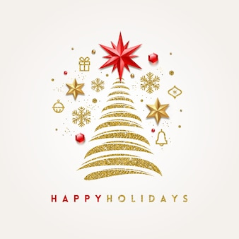 Grußkarte mit abstraktem weihnachtsbaum und feiertagsdekor