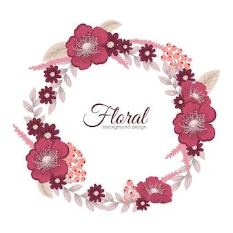 Grußkarte mit Blumen, Aquarell. Vektor-Kranz-Rahmen