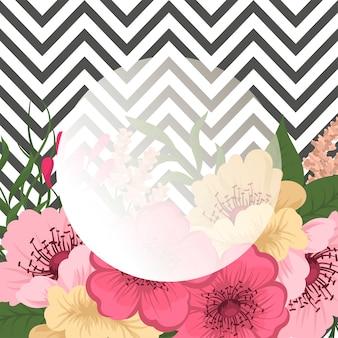 Grußkarte mit Blumen, Aquarell. Vektorrahmen