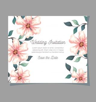 Grußkarte mit blumen, hochzeitseinladung mit blumen, mit zweigen und blättern dekoration