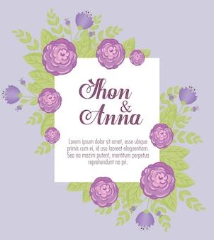 Grußkarte mit blumen lila farbe, hochzeitseinladung mit blumen lila farbdekoration
