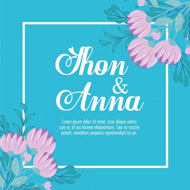 Grußkarte mit blumen lila farbe, hochzeitseinladung mit blumen lila