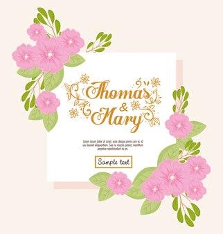 Grußkarte mit blumen rosa farbe, hochzeitseinladung mit blumen rosa farbdekoration