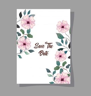 Grußkarte mit blumen rosa farbe, hochzeitseinladung mit blumen rosa farbe mit zweigen und blättern dekoration