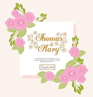 Grußkarte mit blumen rosa farbe, hochzeitseinladung mit blumen rosa