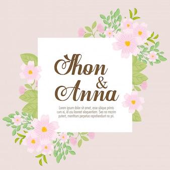 Grußkarte mit blumen rosa farbe und blätter, hochzeitseinladung mit blumen und blätter dekoration